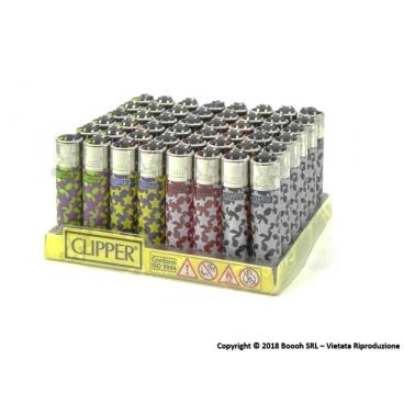 CLIPPER MICRO PATTERNS PING GRAFICA STELLE - BOX DA 48 ACCENDINI A PIETRINA CON SISTEMA DI PRESSATURA DEL TABACCO