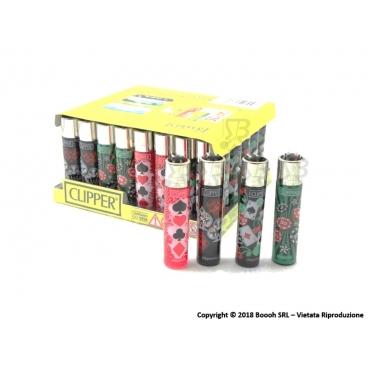 CLIPPER LARGE CASINO GAMES - BOX DA 48 ACCENDINI A PIETRINA RICARICABILI CON SISTEMA DI PRESSATURA DEL TABACCO