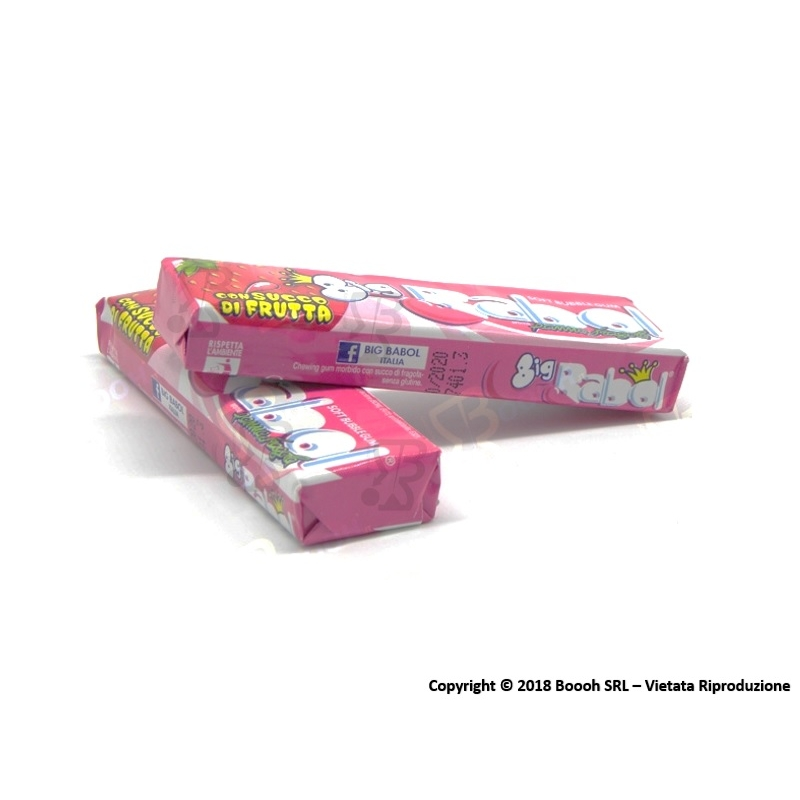 BIG BABOL CHEWING GUM BUBBLE GUM AROMA PANNA FRAGOLA - 1 STICK 0,72 €