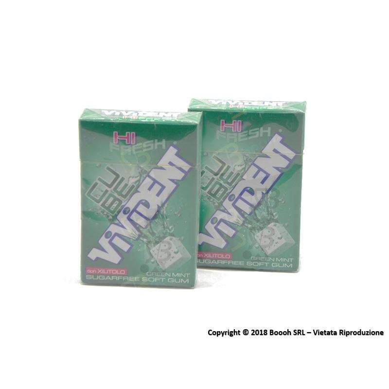 VIVIDENT ICE CUBE GREEN MINT CHEWING GUM - 2 ASTUCCI O CONFEZIONE COMPLETA 1,89€