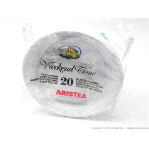 PIATTI FONDI USA E GETTA ARISTEA IN PLASTICA BIANCA - 1 CONFEZIONE DA 20 PEZZI 2,49€