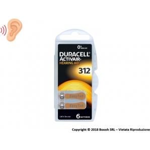 DURACELL ACTIVAIR MISURA 312 MARRONE EASY TAB - SINGOLO BLISTER DA 6 BATTERIE RICAMBI PER PROTESI ACUSTICHE 4,25€