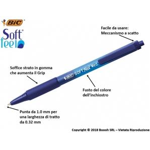 PENNA BIC BLU A SCATTO SOFT FEEL CLIC GRIP - SFUSE O CONFEZIONE COMPLETA 0,99€