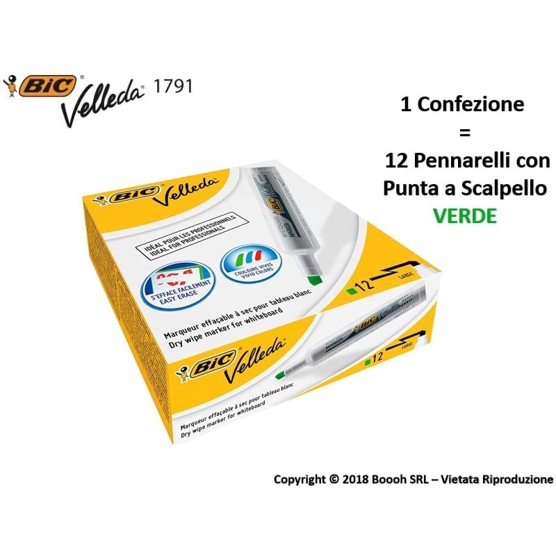 PENNARELLI BIC VELLEDA 1791 PUNTA A SCALPELLO COLORE VERDE - IDEALE PER LAVAGNE | 1 PEZZO O CONFEZIONE COMPLETA 1,99€