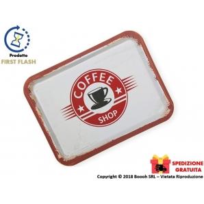 VASSOIO RETTANGOLARE IN METALLO - VINTAGE LOOK COFFEE SHOP | SPEDIZIONE GRATUITA 16,99€