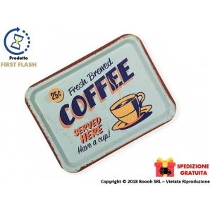 VASSOIO RETTANGOLARE IN METALLO - VINTAGE LOOK FRESH BREVED COFFEE | SPEDIZIONE GRATUITA 16,99€