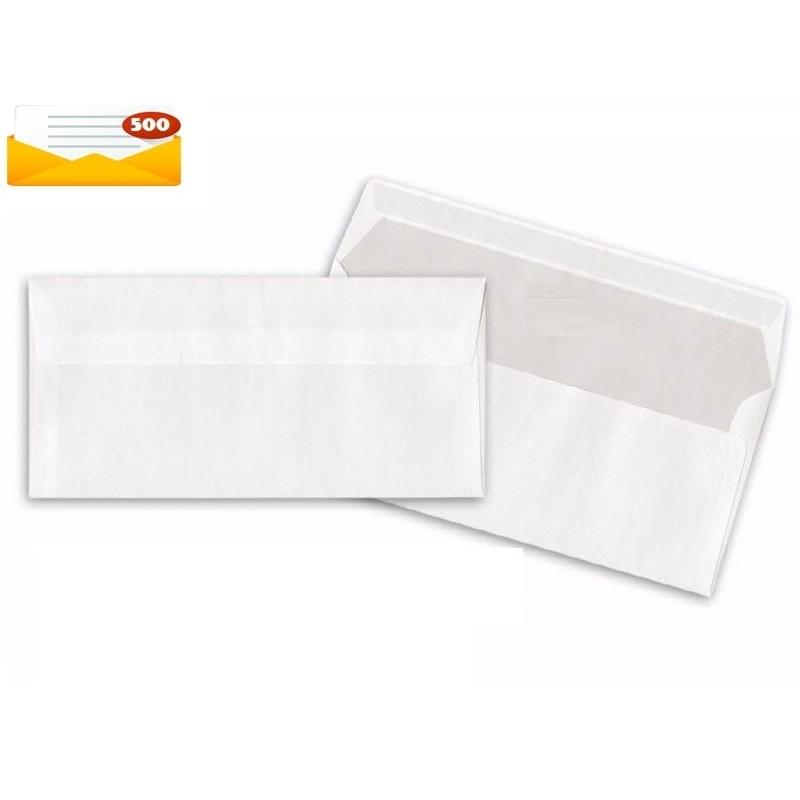 100 buste bianche da lettera commerciale 11x23 cm senza finestra 90 gr con strip