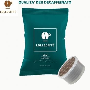 100 CAPSULE LOLLO CAFFE' QUALITA' MISCELA DEK DECAFFEINATO - COMPATIBILI SISTEMI LAVAZZA ESPRESSO POINT