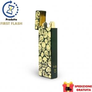 NOVI MOTION ACCENDINO AL PLASMA NERO GOLD SKULLS - IDEA REGALO FUMATORE LIMITED EDITION 35,99€