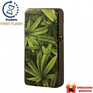 ACCENDINO NOVI CON FIAMMA ANTIVENTO AL PLASMA E-FLAME, RICARICABILE USB - FANTASIA MARIJUANA 49,99€