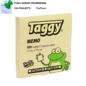 BLOCCO FOGLI ADESIVI TAGGY by POOL OVER - CONFEZIONE DA 100 FOGLIETTI MISURA 75mmx75mm | SPEDIZIONE GRATUITA 1,49€