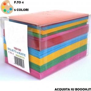 BIGLIETTI E BUSTE COLORATE POP - FORMATO 4 | CONFEZIONE DA 100 14,99€