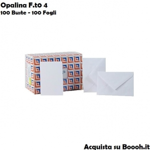 BIGLIETTI E BUSTE BIANCHE DA LETTERA OPALINA F.TO 4 - CONFEZIONE 100/100 17,24€