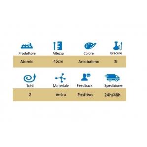 NARGHILE' DA 2 TUBI COLOR ARCOBALENO 45CM - 1 PEZZO 28,89€