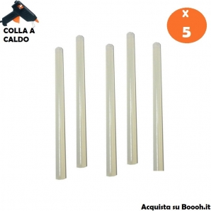 RICARICA COLLA IN SILICONE A CALDO PER PISTOLA TERMICA - CONFEZIONE DA 5 STICK 30cm x 1cm 3,81€