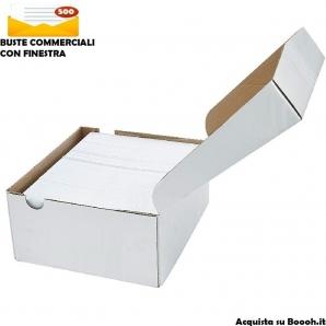 BUSTE DA LETTERA BIANCHE COMMERCIALI CON FINESTRA - FORMATO 11x23cm - EDERA STRIP | CONFEZIONE DA 500 PEZZI 18,99€