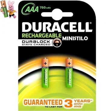 DURACELL BATTERIE AAA RICARICABILI RECHARGE PLUS MINISTILO 750MAH 1,2V - 1 BLISTER DA 2 PILE