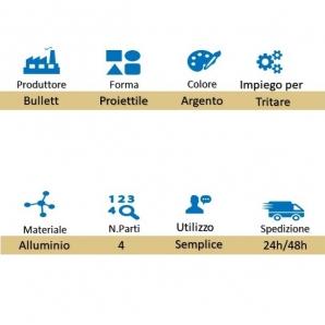 GRINDER TRITATABACCO METALLICO BULLET - FORMA DI PROIETTILE 4 PARTI | SPEDIZIONE GRATUITA 13,99€