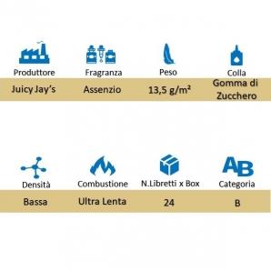 CARTINE CORTE DI PURA CANAPA JUICY JAY'S 1¼ AROMA ASSENZIO - BOX 24 LIBRETTI 28,99€