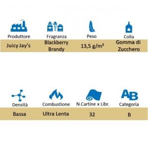 CARTINE CORTE JUICY JAY'S 1¼ AROMA BLACKBERRY BRANDY - LIBRETTO SINGOLO 1,59€