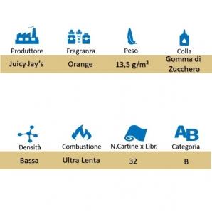 CARTINE CORTE JUICY JAY'S 1¼ AROMA ARANCIA - ORANGE - LIBRETTO SINGOLO 1,59€