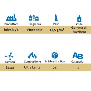CARTINE CORTE JUICY JAY'S 1¼ AROMA ANANAS - PINEAPPLE - BOX 24 LIBRETTI 28,99 €