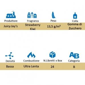 CARTINE CORTE IN PURA CANAPA JUICY JAY'S 1¼ AROMA FRAGOLA E KIWI - BOX 24 LIBRETTI 28,95€