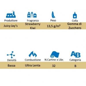 CARTINE CORTE JUICY JAY'S 1¼ IN CANAPA 100% NATURALE AROMA FRAGOLA E KIWI - LIBRETTO SINGOLO 1,59€