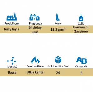 CARTINE LUNGHE JUICY JAY'S KING SIZE AROMA TORTA DI COMPLEANNO - BIRTHDAY CAKE - BOX 24 LIBRETTI 39,99 €