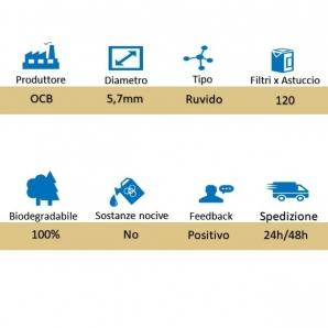 FILTRI OCB ECO EXTRA SLIM 5,7mm IN SPUGNA BIODEGRADABILI RUVIDI - 1 ASTUCCIO DA 120 FILTRINI 0,79€