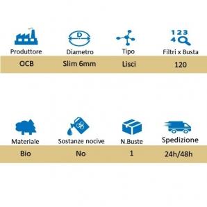 OCB FILTRI BIODEGRADABILI SLIM 6mm - 1 BUSTINA DA 120 FILTRI 0,94€
