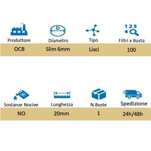 OCB FILTRI SPUGNA SUPER LUNGHI 20mm SLIM 6mm - 1 BUSTINA DA 100 FILTRI 0,89€
