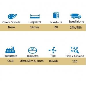 OCB FILTRI ULTRA SLIM 5,7mm RUVIDI - BOX DA 20 ASTUCCI DA 120 FILTRI 27,29€