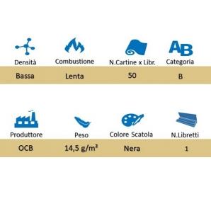 OCB CARTINE CORTE SINGOLE NERE PREMIUM - 1 LIBRETTO DA 50 CARTINE 0,33€