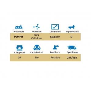 TAPPETINI ASSORBENTI PER ANIMALI- 1 CONFEZIONE DA 10 TRAVERSINE MISURA 60 x 60 2,79€