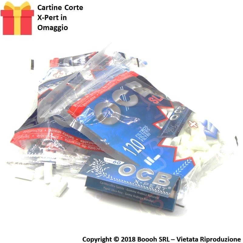OCB FILTRI SLIM 6MM LISCI + CARTINA CORTA X-PERT IN OMAGGIO - 1 BUSTINA DA 120 FILTRI + 60 CARTINE 0,75€