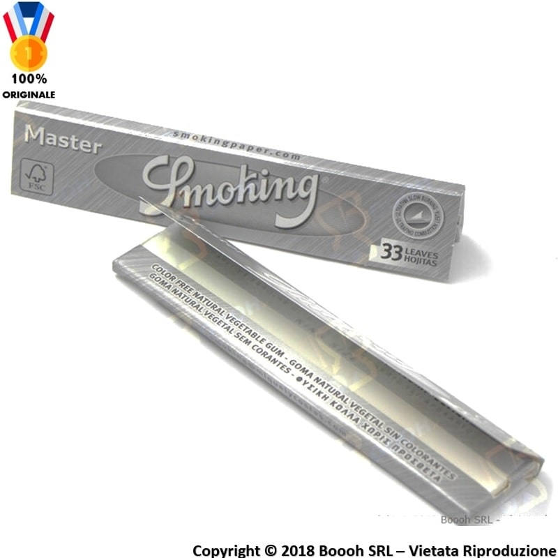 SMOKING CARTINE MASTER SLIM KING SIZE LUNGHE GRIGIE - 1 LIBRETTO DA 33 CARTINE 0,69 €
