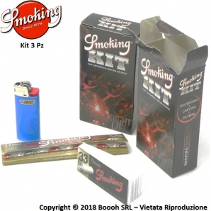 SMOKING KIT 3PZ CARTINA LUNGA GOLD + ACCENDINO BIC MINI + FILTRO CARTA BLACK 1,59 €