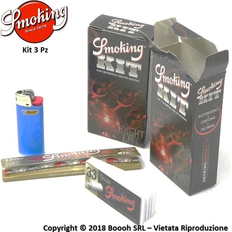 SMOKING KIT 3PZ CARTINA LUNGA GOLD + ACCENDINO BIC MINI + FILTRO CARTA BLACK 1,59€