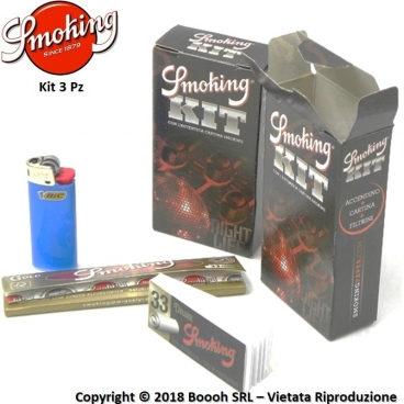 SMOKING KIT 3PZ CARTINA LUNGA GOLD + ACCENDINO BIC MINI + FILTRO CARTA BLACK