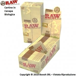 RAW CARTINE HEMP CORTE DOPPIE CANAPA BIOLOGICA - CONFEZIONE DA 25 LIBRETTI DA 100 CARTINE 17,99 €