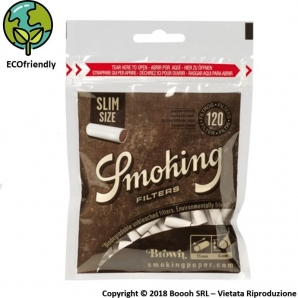 SMOKING FILTRI BIODEGRADABILI LISCI BROWN SLIM 6MM - 1 BUSTINA DA 120 FILTRI 0,89 €