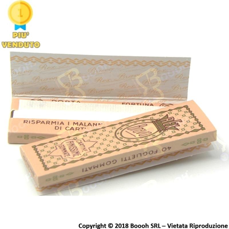 REX BRAVO CARTINE CORTE SINGOLE FINISSIME GOMMATE - 1 LIBRETTO ROSA DA 40 CARTINE 0,32€