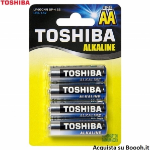BATTERIE TOSHIBA ALCALINE STILO AA MODELLO LR6 - BLISTER DA 4 PZ 2,65€