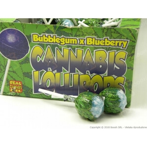 LOLLIPOPS GUSTO MIRTILLO CON AROMA CANNABIS (NO THC) - 5 LOLLIPOPS 3,25 €