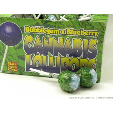 LOLLIPOPS GUSTO MIRTILLO CON AROMA CANNABIS (NO THC) - 5 LOLLIPOPS