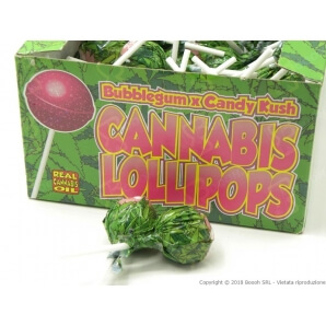 LOLLIPOPS GUSTO CANDY CRUSH ZUCCHERO FILATO CON AROMA CANNABIS (NO THC) - 5 LOLLIPOPS 3,25 €