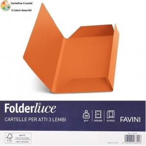 CARTELLINE PER ATTI NOTARILI 3 LEMBI - MOD. FOLDERLUCE by FAVINI - SFUSE O CONFEZIONE DA 25 PEZZI 4,76€