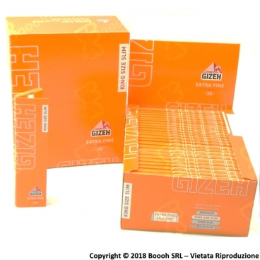 GIZEH CARTINE EXTRA FINE LUNGHE ORANGE KING SIZE SLIM - CONFEZIONE DA 50 LIBRETTI DA 33 CARTINE