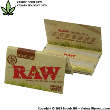 RAW CARTINE HEMP CORTE DOPPIE CANAPA BIOLOGICA - 1 LIBRETTO DA 100 CARTINE